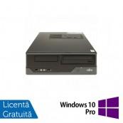 Calculator FUJITSU SIEMENS E400 SFF, Intel Core i3-2100 3.10GHz, 4GB DDR3, 250GB SATA, DVD-ROM + Windows 10 Pro, Refurbished Calculatoare