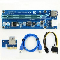 Mining PCI-E Riser Card 1x - 16x - 6 pin PCI-Express - 15 pin SATA - VER.009S