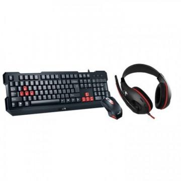 Kit Genius Gaming USB, Wired, 3 in 1 gaming kit, Tastatura + Mouse 1000 DPI + Casti, KMH-200
