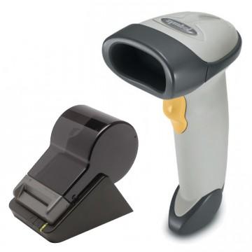 Pachet Cititor Coduri de Bare Motorola Symbol LS2208, Alb, Refurbished Grad A+, Cablu USB + Imprimanta Termica Seiko SLP650, USB, 100mm pe secunda, Second Hand