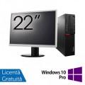 Pachet Calculator LENOVO M700 SFF, Intel Core i3-6100 3.70GHz, 8GB DDR4, 240GB SSD + Monitor 22 Inch + Windows 10 Pro