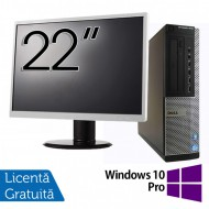 Pachet Calculator DELL OptiPlex 7010 Desktop, Intel Core i5-3550 3.30GHz, 4GB DDR3, 500GB SATA, DVD-RW + Monitor 22 Inch + Windows 10 Pro