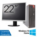 Pachet Calculator Fujitsu E420 Desktop, Intel Core i5-4460 3.20GHz, 4GB DDR3, 500GB SATA, DVD-RW + Monitor 22 Inch + Windows 10 Home