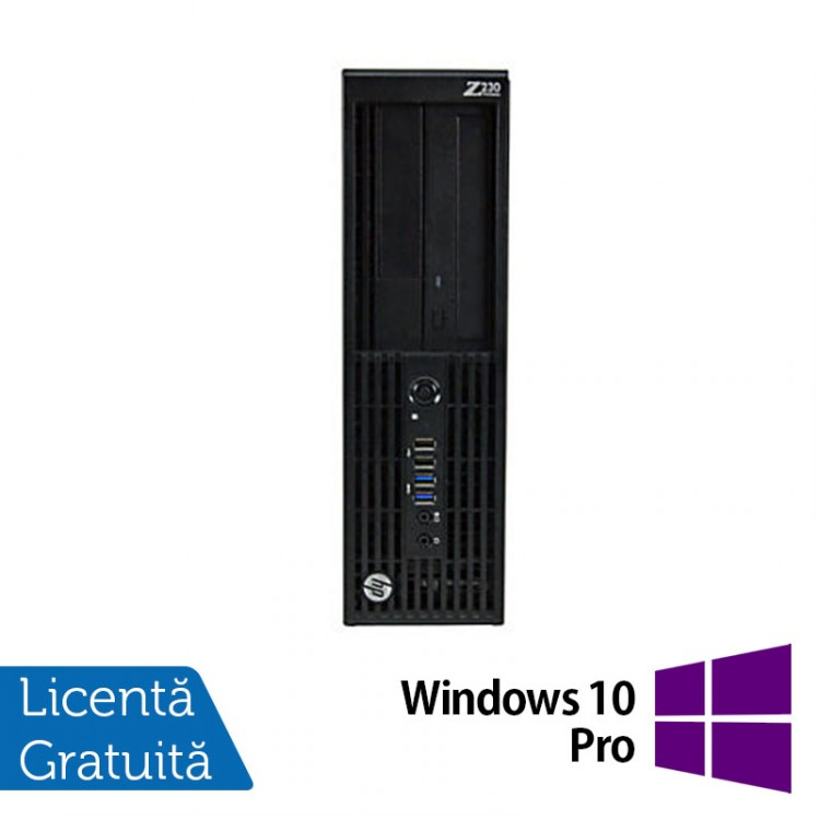Workstation Refurbished HP Z230 Desktop, Intel Xeon Quad Core E3-1230 v3 3.30GHz-3.70GHz, 8GB DDR3, HDD 500GB SATA, DVR-RW, Placa video ATI FirePro V3900/1GB + Windows 10 Pro