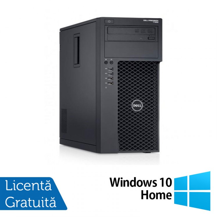 Workstation Dell Precision T1700, Intel Xeon Quad Core E3-1271 V3 3.60GHz - 4.00GHz, 8GB DDR3, 120GB SSD + 500GB SATA, nVidia GT605/1GB, DVD-RW + Windows 10 Home