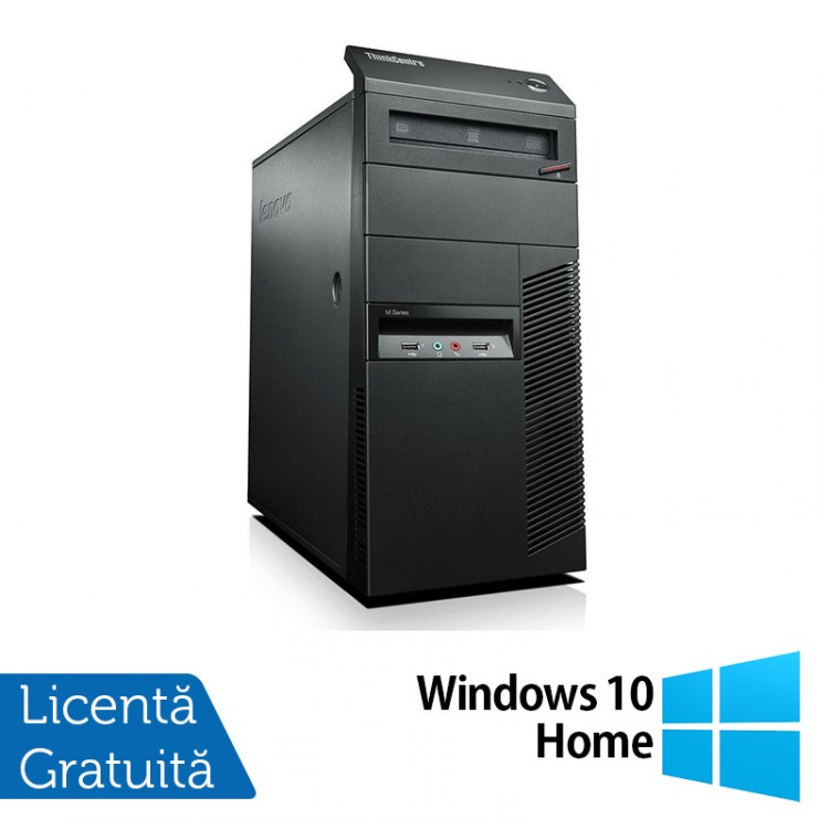 Calculator Lenovo Thinkcentre M91p Tower, Intel Core i7-2600 3.4GHz, 4GB DDR3, 120GB SSD, DVD-RW + Windows 10 Home