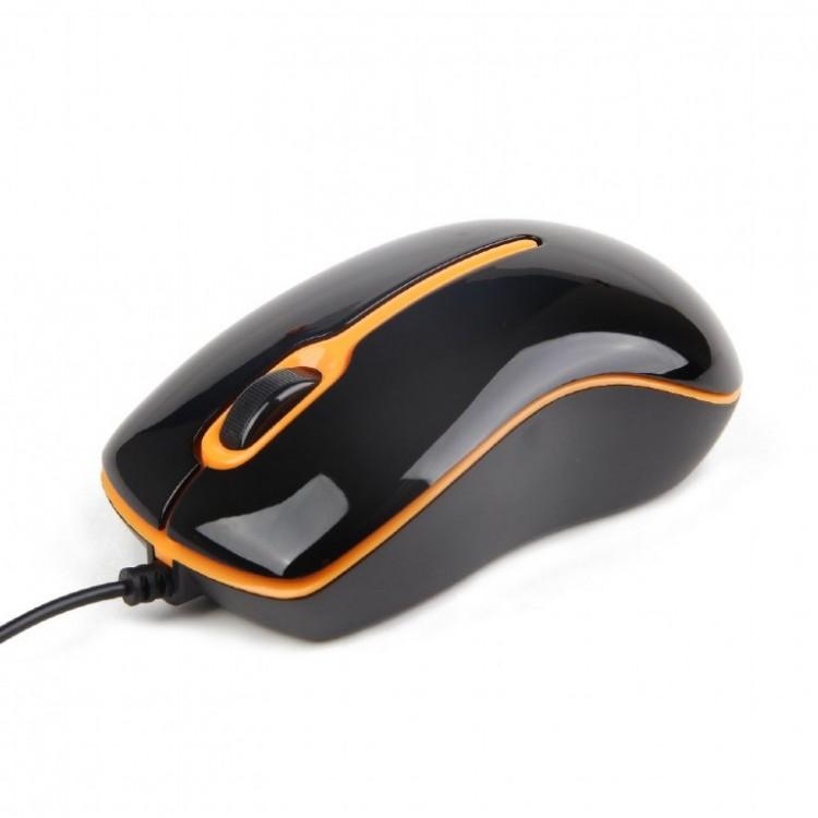 MOUSE GEMBIRD USB optic, 1000dpi, 3 butoane, 1 rotita scroll, Black&Orange