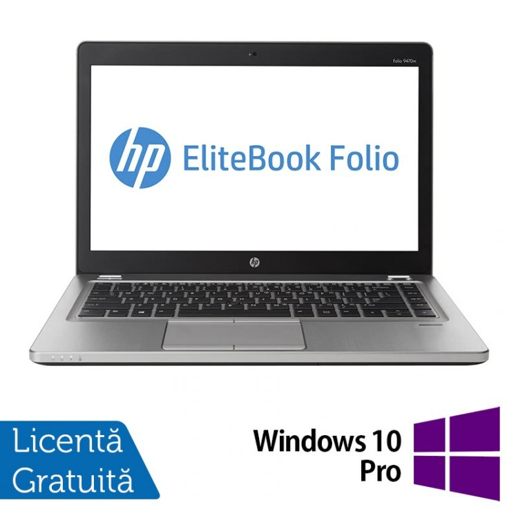 Laptop Refurbished HP EliteBook Folio 9470M, Intel Core i5-3337U 1.80GHz, 16GB DDR3, 120GB SSD, Webcam, 14 Inch + Windows 10 Pro